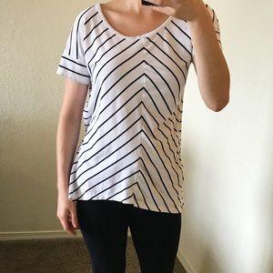 Jones New York black and white stripe shirt